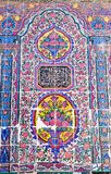 Beautiful old decorated painting mosaic on the wall of Pink mosque Stock Photography