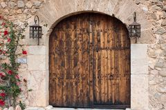 Beautiful old door in Son Serralta de Dalt. Estellencs, Majorca royalty free stock photos