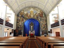 Beautiful old evangelical church inside, Lithuania Royalty Free Stock Photo