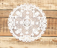 Beautiful old fashion lace. On the wooden background Stock Photo