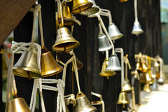 Beautiful old fashioned golden christmas bells Royalty Free Stock Photography