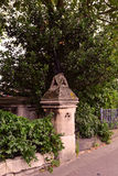 Beautiful Old Garden Fence and column, London, the Garden museum Royalty Free Stock Photo