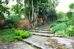 Beautiful old garden with stone stairs Stock Photos