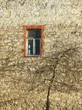 Old home wall and window, Latvia. Beautiful old home wall , window and tree in spring royalty free stock photo