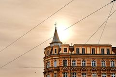 Beautiful old house in the center of Wroclaw in the morning sun light Royalty Free Stock Photography