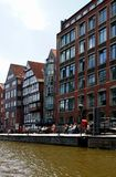 Beautiful old houses on canals in the HafenCity Hamburg - Germany - Europa Royalty Free Stock Photography