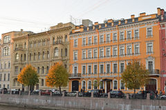 Beautiful old houses on the embankment of the river Moika Royalty Free Stock Photo