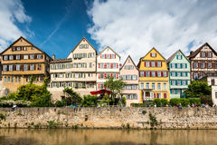 Beautiful old houses at the waterfront of Tubingen Stock Photography