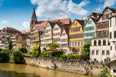 Beautiful old houses at the waterfront of Tubingen Stock Photo