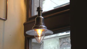 Beautiful old lamp in a vintage environment stock footage