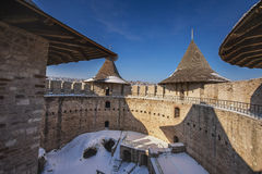 Beautiful old medieval castle and landscape  in winter Stock Photography