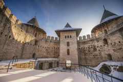 Beautiful old medieval castle and landscape  in winter Royalty Free Stock Images