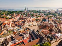 Beautiful old medieval town in Estonia. stock photo