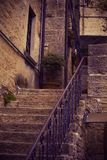 Beautiful old narrow stairs in the old histiric europe italy house. Closeup. Portrait royalty free stock photo