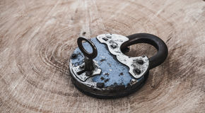 Beautiful old padlock. The charm of rustic style Royalty Free Stock Images