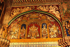 Beautiful old painting that is called tanjore painting in ministry hall- dharbar hall- of the thanjavur maratha palace Stock Images