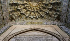 Beautiful old painting mosaic decorated dome of Vakil mosque,Shiraz Stock Photos