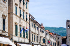 Beautiful old palace on the main walking street in the old town of Dubrovnik Royalty Free Stock Image