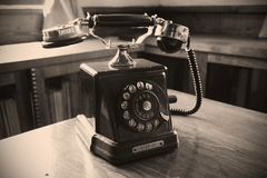 Beautiful old phone located in a museum. Probably it was used by a Bulgarian revolutionary. I was walking around the museums in Bulgaria. This beautiful phone I royalty free stock photo