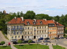 Beautiful Old Polish Homes near Fortress of Barbican in Warsaw,Poland Stock Photography