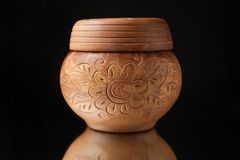 Beautiful old pot of clay with patterns Stock Photo