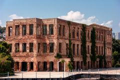 A beautiful old red brick building with a modern restoration stock photo