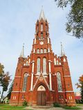 Beautiful old red church in Silale town, Lithuania Stock Images