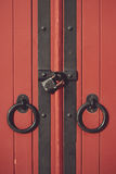 Beautiful old red wooden doors element Stock Image