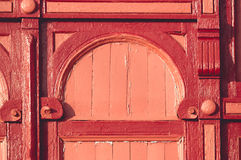 Beautiful old red wooden doors element Royalty Free Stock Photos