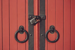 Beautiful old red wooden doors element Royalty Free Stock Photography