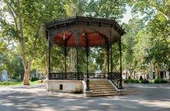 Beautiful old rotunda at Strossmayer Square (park) in Zagreb. Beautiful old rotunda at green Strossmayer Square (park) in Zagreb royalty free stock image