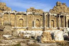 Beautiful old ruins on a Sunny summer day. Ruins of a Byzantine city, destroyed the house, columns, stones and walls with ornament Royalty Free Stock Photo