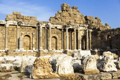 Beautiful old ruins on a Sunny summer day. Ruins of a Byzantine city, destroyed the house, columns, stones and walls with ornament Royalty Free Stock Photography