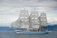 Beautiful old sailing ship in the sea Stock Photography