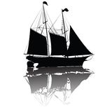 Beautiful old ship. Old ship isolated on white, vector illustration Royalty Free Stock Photos