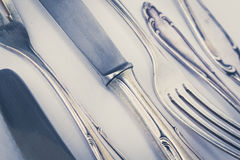 Beautiful old silver cutlery closeup , vintage style Stock Images