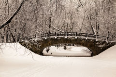 Beautiful old stone bridge of  winter forest in the snow at sunset frosty days. Trees covered in frost and snow. Stock Photo