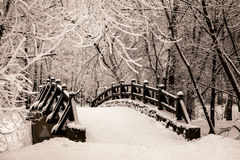 Beautiful old stone bridge of  winter forest in the snow at sunset frosty days. Trees covered in frost and snow. Royalty Free Stock Image