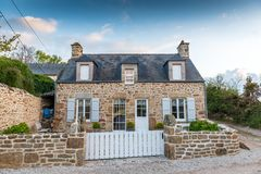 Beautiful old stone house. In Normandy, France Stock Photo