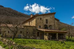 Beautiful old stone houses in Spain. Beautiful old stone houses in Spanish ancient village Hostales den Bas in Catalonia of Spain Royalty Free Stock Images