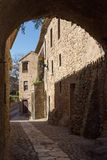 Beautiful old stone houses in Spanish ancient village, Pals, in Costa Brava.  Stock Photos