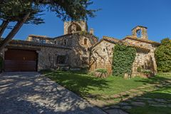 Beautiful old stone houses in Spanish ancient village, Pals, in Costa Brava.  Stock Photography