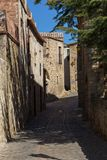 Beautiful old stone houses in Spanish ancient village, Pals, in Costa Brava.  Royalty Free Stock Photo