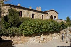 Beautiful old stone houses in Spanish ancient village, Pals, in Costa Brava.  Royalty Free Stock Photography