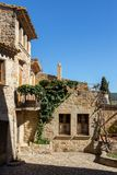 Beautiful old stone houses in Spanish ancient village, Pals, in Costa Brava.  Royalty Free Stock Images