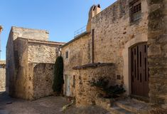 Beautiful old stone houses in Spanish ancient village, Pals, in Costa Brava.  Stock Image