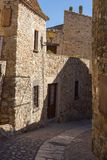 Beautiful old stone houses in Spanish ancient village, Pals, in Costa Brava.  Royalty Free Stock Photos