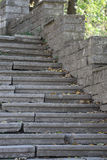 Beautiful old stone stairs natural dark stone diabase with stone Stock Images