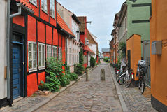 Beautiful old street in Elsinore, Denmark. Elsinore, Denmark. Beautiful street with old colorful houses royalty free stock photos