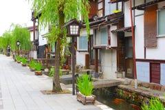 Beautiful old street green trees buildings, Hida Furukawa, Japan royalty free stock photography